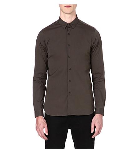 THE KOOPLES Slim-fit stretch-cotton shirt (Kaki