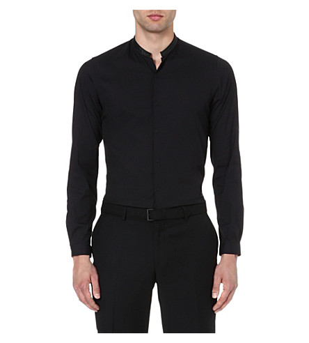 THE KOOPLES Contrasting Mandarin collar shirt (Black