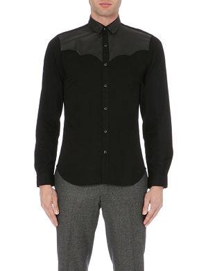 THE KOOPLES Leather-panelled western denim shirt