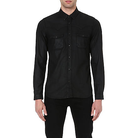 THE KOOPLES Wax denim shirt (Black