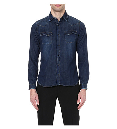 THE KOOPLES Washed denim shirt (Blue