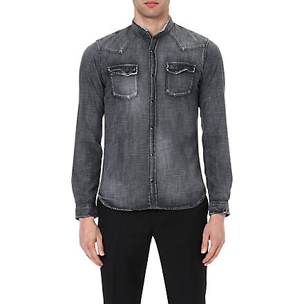 THE KOOPLES Faded stand collar denim shirt (Grey