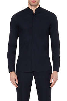 THE KOOPLES Leather-collar slim-fit shirt