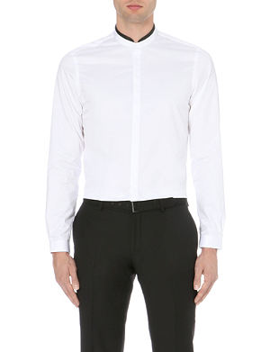 THE KOOPLES Leather-trimmed cotton shirt