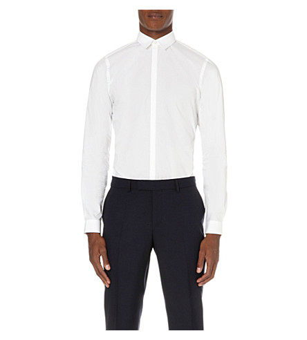 THE KOOPLES Slim-fit micro-pleated cotton shirt (White