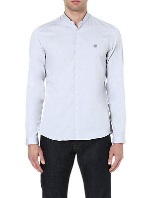 THE KOOPLES SPORT Contrast mandarin collar cotton shirt