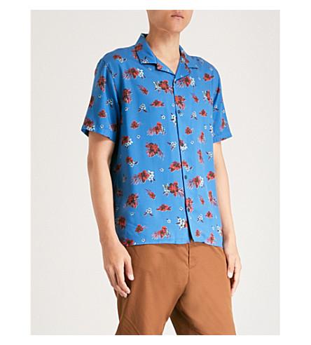 THE KOOPLES 花印常规版型编织夏威夷衬衫 (Blu36