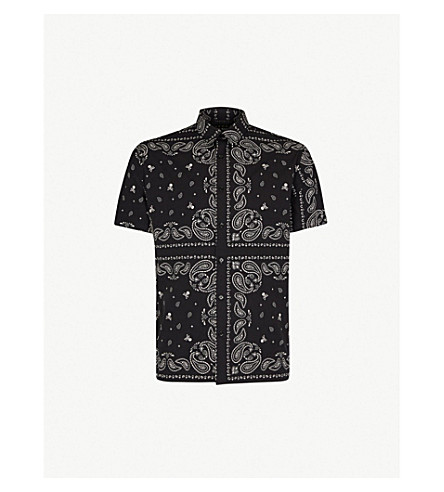 THE KOOPLES Skull and paisley-pattern oversized cotton shirt (Bla09