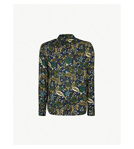 THE KOOPLES Floral-print classic-collar crepe shirt (Nav35