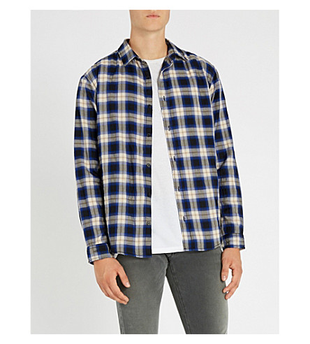 THE KOOPLES 常规版型格纹弹力棉衬衫 (Blu01
