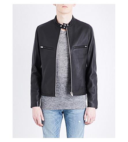 THE KOOPLES Mandarin-collar leather jacket (Bla01