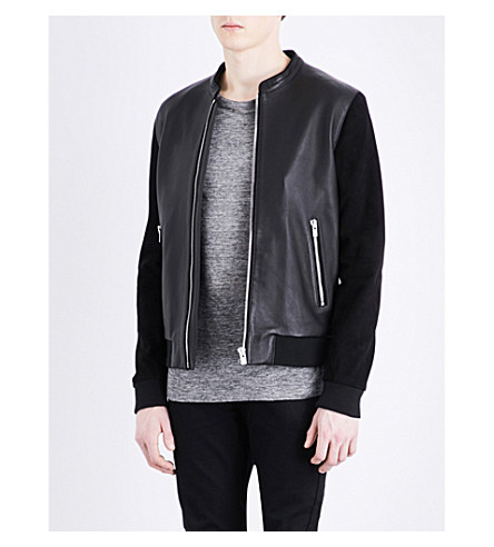 THE KOOPLES SPORT Mandarin-collar leather jacket (Bla01