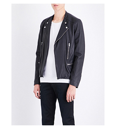 THE KOOPLES Moto leather jacket (Nav03