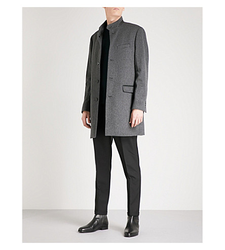 THE KOOPLES Band-collar wool-blend coat (Gry01