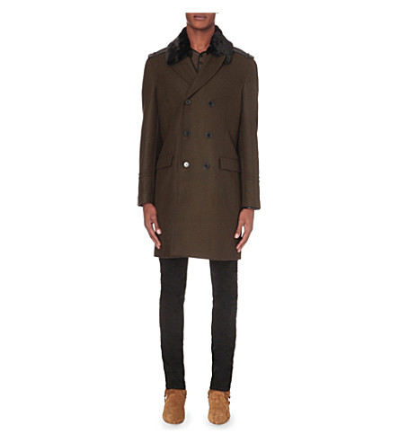 THE KOOPLES Military pea coat with faux sheepskin collar (Light+kaki