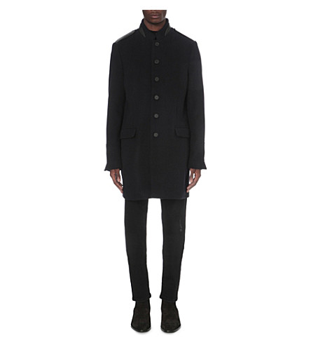 THE KOOPLES Button-up wool-blend coat (Navy