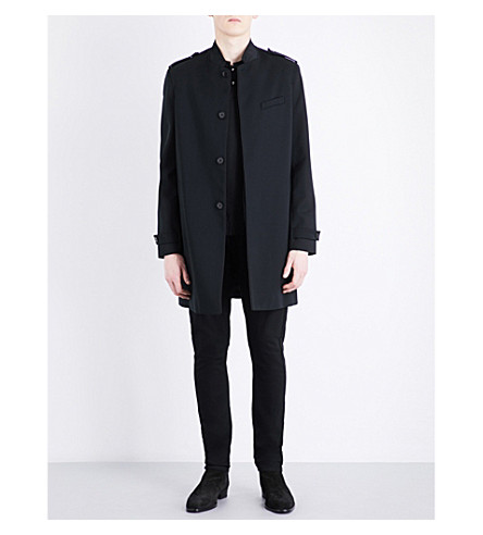 THE KOOPLES Gorsgrain-trim woven coat (Bla01