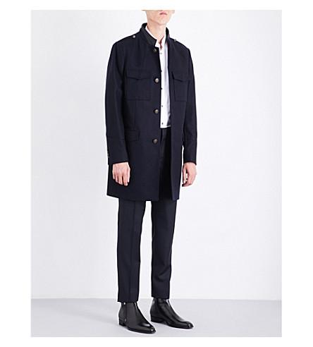 THE KOOPLES Leather-collar wool-blend coat (Nav03