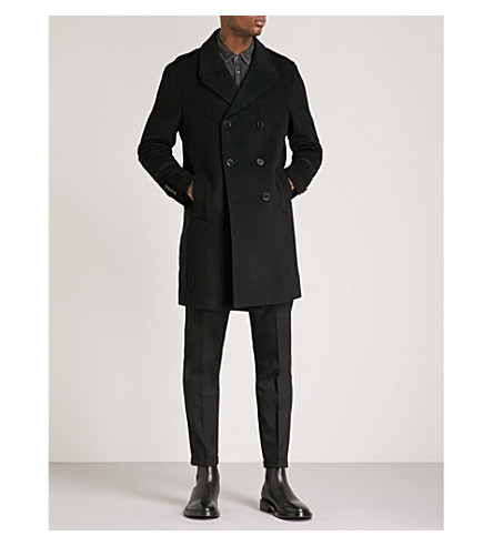 THE KOOPLES Velvet-patch double-breasted wool and cashmere-blend coat (Bla01