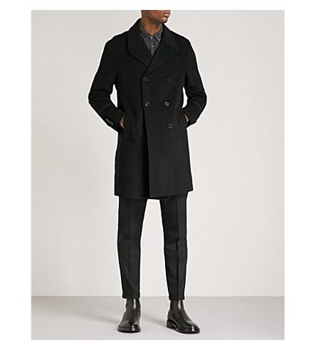 THE KOOPLES 天鹅绒补丁双排扣羊毛和羊绒混纺大衣 (Bla01