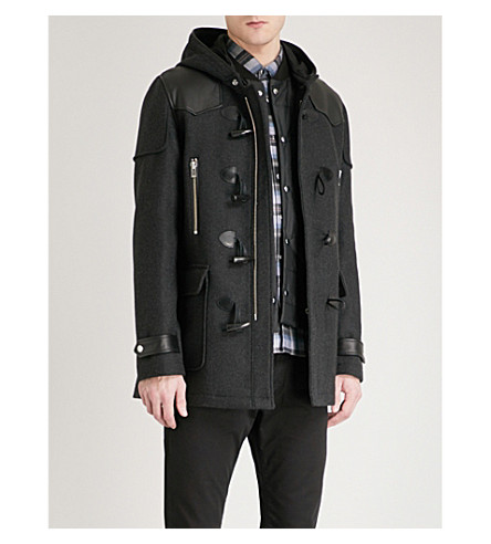 THE KOOPLES Leather-trimmed wool-blend duffel coat (Gry01