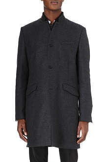 THE KOOPLES Leather-collar wool and cashmere coat