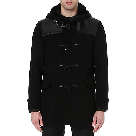 THE KOOPLES Leather panelled duffle coat (Black