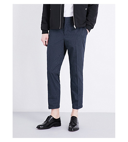 THE KOOPLES Micro-patterned slim-fit cotton trousers (Nav31