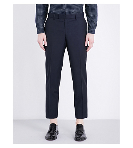 THE KOOPLES Classic-fit tapered wool and mohair-blend trousers (Nav01