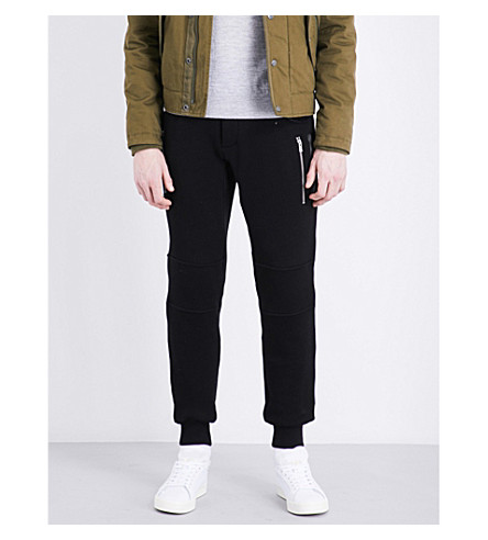THE KOOPLES SPORT Zipper-detail relaxed-fit cotton track pants (Bla01