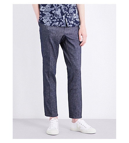 THE KOOPLES Slim-fit tapered linen and cotton-blend pants (Blue6