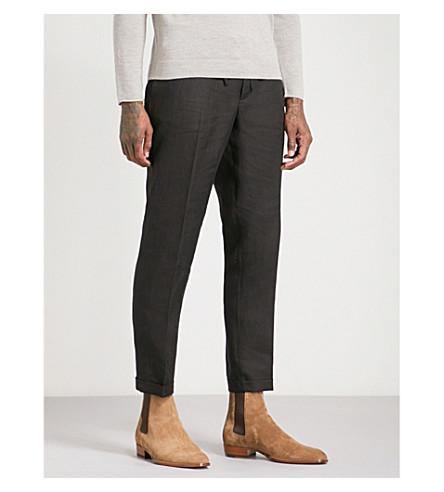 THE KOOPLES 拉绳腰带亚麻裤子 (Bla01