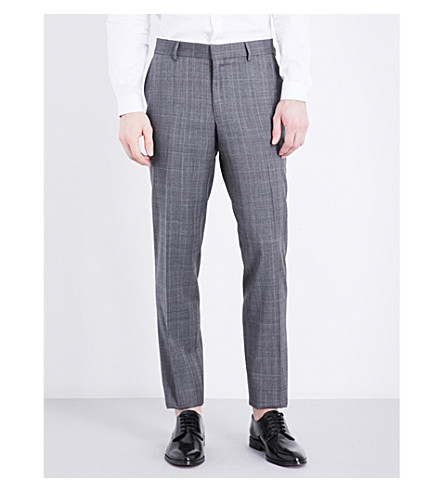 THE KOOPLES Checked slim-fit tapered wool trousers (Gry01