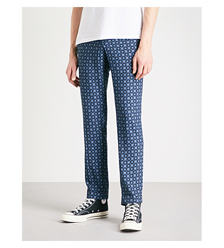 THE KOOPLES Patterned slim-fit twill trousers (Bla99