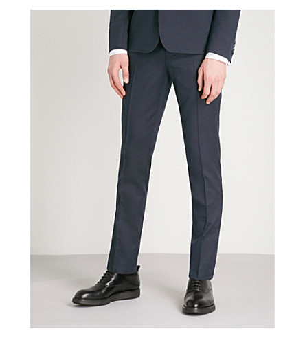 THE KOOPLES Tapered wool and cotton-blend trousers (Nav49