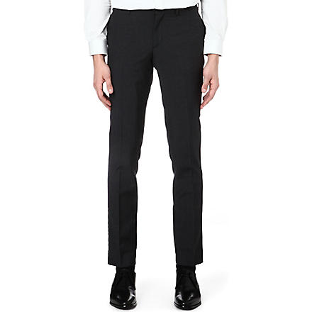 THE KOOPLES Twill-trimmed wool suit trousers (Grey