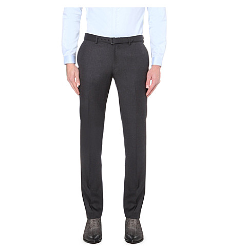 THE KOOPLES Slim-fit straight-cut wool trousers (Dark+grey