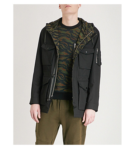 THE KOOPLES Camouflage-lining cotton-drill parka (Bla01