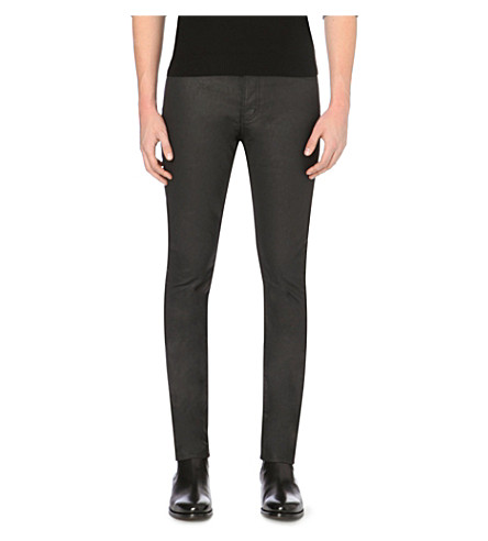 THE KOOPLES Slim-fit skinny mid-rise coated stretch-denim jeans (Black