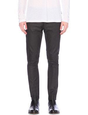 THE KOOPLES Waxed leather-effect tapered mid-rise jeans