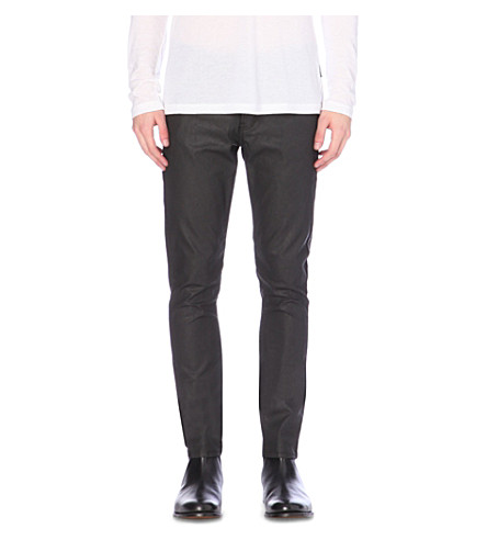 THE KOOPLES Waxed leather-effect tapered mid-rise jeans (Black