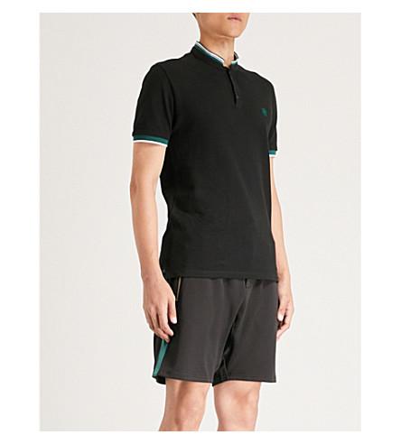THE KOOPLES Officer-collar cotton-piqué polo shirt (Bla01