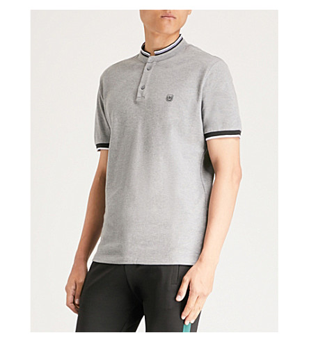 THE KOOPLES Officer-collar cotton-piqué polo shirt (Gry30