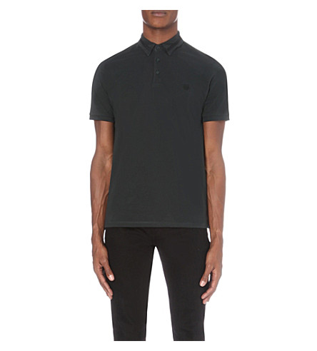 THE KOOPLES Contrast-trim cotton-piqué polo shirt (Dark+green++/+noir