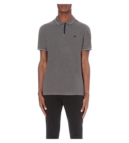 THE KOOPLES Logo-embroidered cotton-piqué polo shirt (Burgundy+/+dark+navy