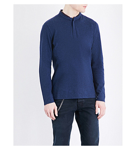 THE KOOPLES Cotton-piqué polo shirt (Blue+melange