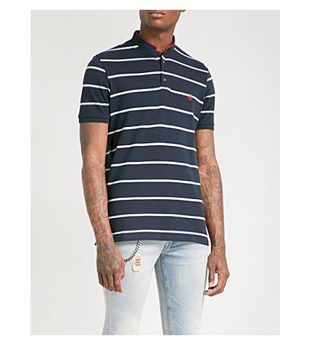 THE KOOPLES Logo-embroidered striped cotton-piqué polo shirt (Nav68