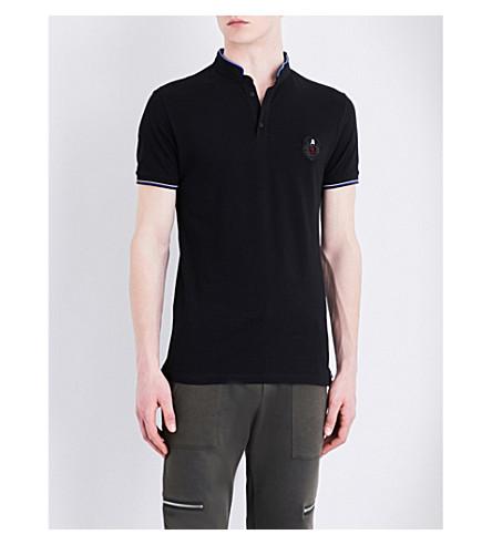 THE KOOPLES SPORT Crest-patch cotton-piqué polo shirt (Bla01