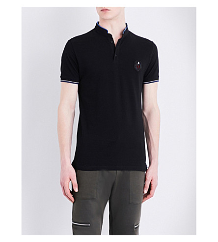 THE KOOPLES Officer-collar cotton-piqué polo shirt (Bla01