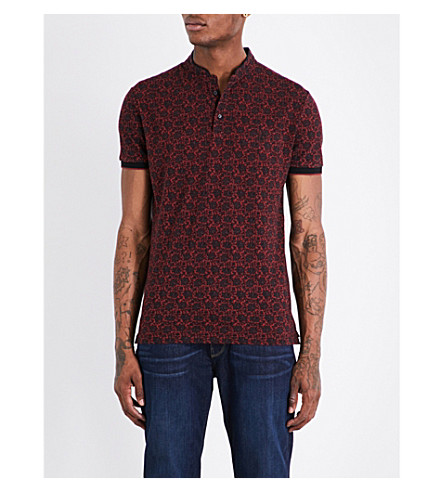 THE KOOPLES Floral-pattern cotton-piqué polo shirt (Red01
